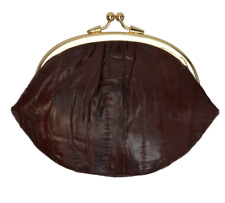 EEL SKIN WOMEN'S COIN PURSE EELSKIN COIN CHANGE HOLDER DOUBLE FRAME CLASP SMALL