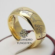 Tungsten Carbide Ring - 18K Gold Lord of the Rings 8MM - Sizes 6 to 14 - TG093