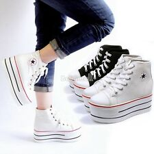New Black White Canvas Platform Low Sneakers for Women Tennis Shoes Trainers