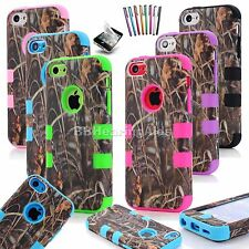 Real Straw Grass Camo Rugged Hybrid Phone Case Accessory For iPhone 5C - 6colors