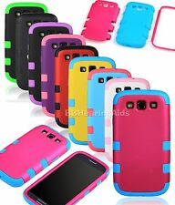 Hybrid 3in1 Rubber Matte Hard Soft Case Cover For Samsung Galaxy S3 S III i9300