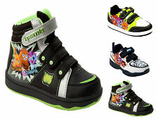 NEW BOYS GIRLS MOSHI MONSTERS BLACK TRAINERS SHOES HI TOPS KIDS UK SIZE 7-2