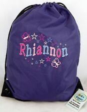 PERSONALISED BUTTERFLY & STAR EMBROIDERED DRAWSTRING PE BAG KIT,SWIM,SCHOOL BAG.