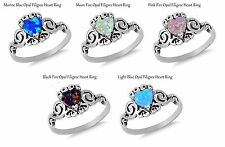 Filigree Celtic Fire Opal Heart Cut Birthstone Sterling Silver Ring Size 4 - 12