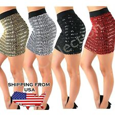 Sexy Bandage Glitter Sequin BodyCon Panel Party Mini Sequin Skirt B G S R