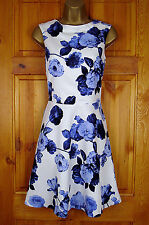 NEW EXCHAINSTORE LADIES BLUE WHITE VINTAGE FLORAL SUMMER PARTY COCKTAIL DRESS