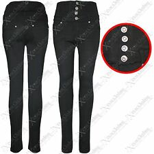 NEW WOMEN HIGH WAISTED THICK BLACK LEGGINGS LADIES PLUS SIZE JEANS LOOK JEGGINGS