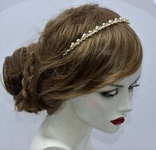 Pale Champagne Pearl & Clear Crystal Tiara Alice Band Bridal Hair Accessory UK