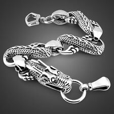 Solid Sterling Silver Thai Silver Dragon Chain Super Men's Bracelet SB165