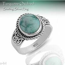 Genuine Turquoise Oxidized Sterling Silver Ring - Sizes 5 - 12