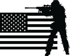 Military Soldier Army Men Sniper with US Flag Vinyl Wall Decal Sticker 20x25