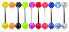 UV Glitter Surgical Steel Ear Nipple Tongue Piercing Barbell 10 Colours 14g