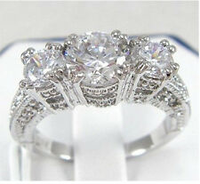 Size 6/7/8/9 Jewellery High Quality 10kt white gold filled White Topaz Gem Ring