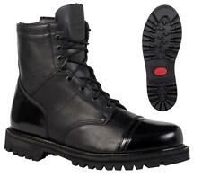 "NEW ROCKY 7"" Military Duty Work Boots WATER Res ZIPPER Leather PARABOOTS Black"