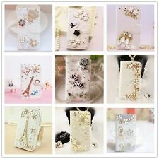Crystal Diamond Rhinestone Flip Wallet PU Leather Case Cover for Samsung iPhone