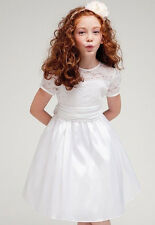 Pageant Wedding Bridemaid Communion Flower Girl Lace Satin White Dress Sz 2-12