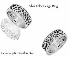 Stainless Steel Silver Celtic Ring - Sizes 8 - 13 (Unisex)