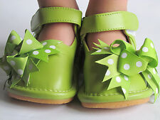 Toddler Shoes - Squeaky Shoes - Green with Dot Bows, Mary Jane, Up to Size 7