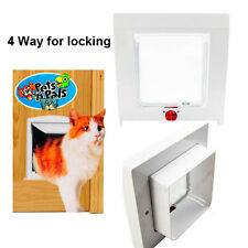 1 x 4 Way Safe Lockable Small Pet Puppy Dog Cat Door Flap Dog White/Coffee