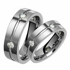 New 6mm Titanium Ring Set Promise Diamonds Ring Wedding Bands Limited QTY