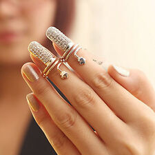 AGH New Jewellery Womens Vintage Punk Charms Nail Set Fake Nail Art Finger Rings