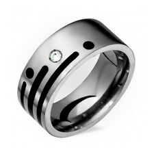 Mens Titanium Diamond Wedding Band With Black Resin 8mm Wide Free Sizing 4 to 14