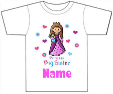 PERSONALISED BIG SISTER PRINCESS T-SHIRT PRINTED WITH ANY CHILDS NAME GIRLS/BOYS