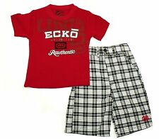 Toddler Boy's Echo Tee & Short Set, Red Tee with Black & White Plaid Shorts