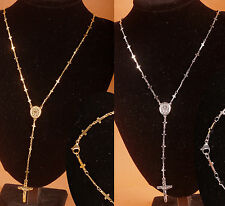 Stainless Steel Cross Rosary Chain long Necklace Jesus pendant unisex sideways
