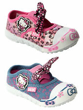 GIRLS OFFICIAL HELLO KITTY SLIP ON CANVAS PUMPS SHOES TRAINERS INFANTS UK 4-10