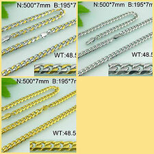 """7 11/16"""" Chain Bracelet & 19 1/8"""" Necklace Set- Stainless Steel - BS04"""