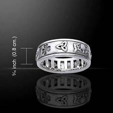 Irish Symbols Silver Spinner Ring - Trinity Knot, Shamrock, Thistle