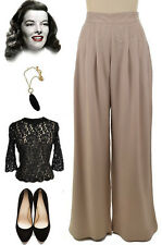 40s Style Katie Hepburn Inspired TAUPE HIGH WAISTED Wide Leg PINUP Pants