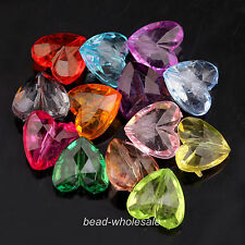 50pcs New Mixed Color Acrylic Faceted Heart Shaped Spacer Beads 12mm/15mm