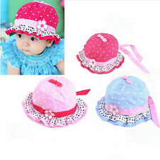 Cute Baby Girls Sun Flower Polka Dot Hearts Cotton Summer Hat Cap 3-24 Months