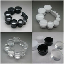 PAIR 2MM - 20MM EAR PLUG SADDLE STRETCHER DOUBLE FLARE CLEAR BLACK WHITE TUNNEL