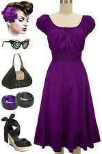 50sStyle SOLID PURPLE Rockabilly PINUP PLUS SIZE Peasant On/Off T/Shoulder Dress
