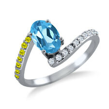 1.04 Ct Oval Swiss Blue Topaz Canary Diamond 925 Sterling Silver Ring