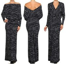 STRIPED PRINT MULTI WAY REVERSIBLE PLUNGING CONVERTIBLE OFF SHOULDER MAXI DRESS