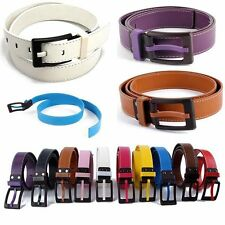 Unisex New Faux Leather Waist Belt Plastic Buckle Waistband Strap Belt 10 Colors