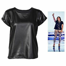 H6B New Womens Celeb Short Sleeve Jessie J Wet look Leather PVC T-Shirt Top 8-14