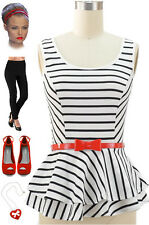 WHITE with Black STRIPES 50s Style Fit-N-Flare PINUP PEPLUM Top w/RED BOW Belt