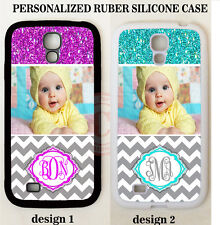 1 PERSONALIZED CUSTOM PHOTO GREY CHEVRON CASE For Samsung Galaxy S6 S5 NOTE 5 4
