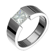 New Stylish Titanium Ring Cubic Zirconia Tension Set Wedding Band Free Engraving