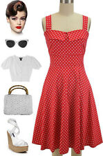 50s Style RED with White POLKA DOT Fold Over Bust PEGGY SUE Sun Dress