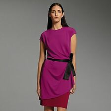 NARCISO RODRIGUEZ for DESIGNATION Womens Colorblock Shift DRESS Magenta Red Bow