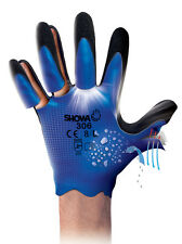 10 Pairs Of Showa 306 Fully Coated Latex Grip Gloves Water repellent Work Wear