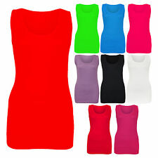New Ladies Womens Summer Plain Stretchy Ribbed Vest Top T-Shirt Plus Size 14-28