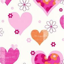 LUXURY ARTHOUSE HAPPY HEARTS FLOWERS GIRLS CHILDRENS KIDS BEDROOM WALLPAPER P/O