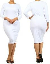 SEXY PLUS SIZE WHITE HOURGLASS SILHOUETTE BODYCON STRETCHY MIDI DRESS 1X 2X 3X